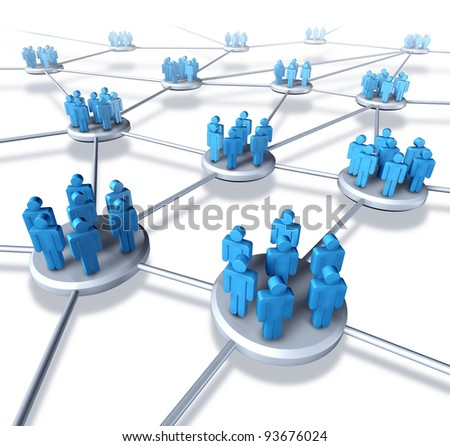 Team communication network with groups of business people working in partnership as a connected networking mobile technology structure exchanging information and services working together to succeed. - stock photo