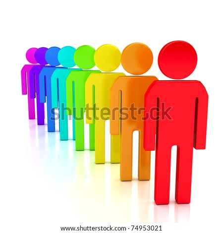 Team concept over white background. Computer generated image - stock photo