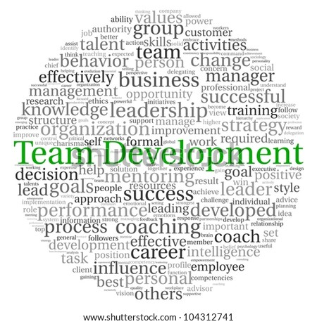 Team Development concept in word tag cloud on white background
