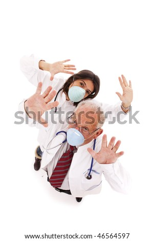team doctors alerting you with a protection mask