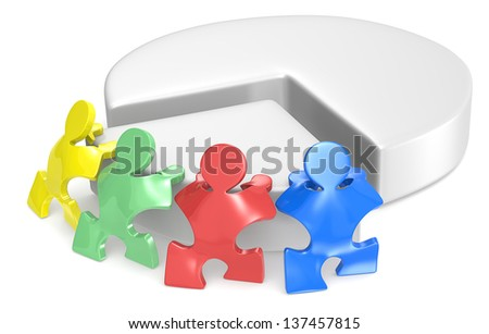 Team Effort. Puzzle people x 4 pushing part of Pie Chart. 4 Color. - stock photo