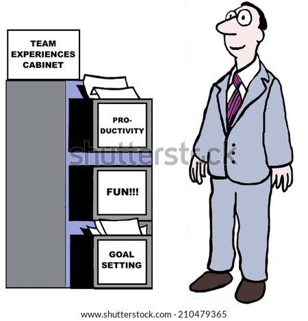 TEAM EXPERIENCES CABINET:  Productivity, Fun, Goal Setting - stock photo