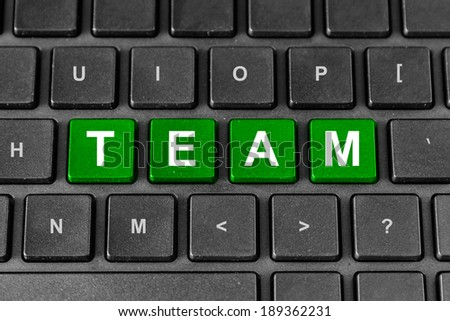 Team green word on keyboard, business concept - stock photo
