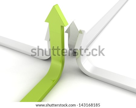 team group of arrows growing up with green leader - stock photo
