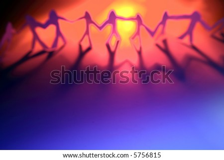 Team holding hands - stock photo