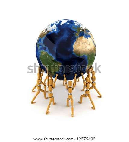 Team holding up the world over white background - stock photo