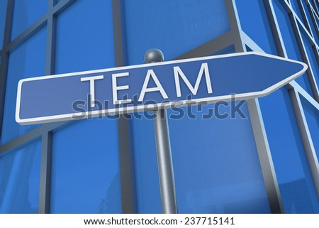 Team - illustration with street sign in front of office building.