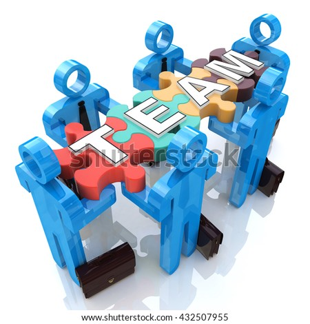 Team in the design of information related to solving problems in a team. 3d illustration - stock photo
