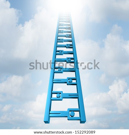 Team ladder of opportunity and group support success as a staircase made of business people icons working together moving high up as a concept of achievement and strategic teamwork planning. - stock photo