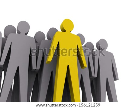 Team leader. Company boss. Teamwork. Concept 3D illustration - stock photo