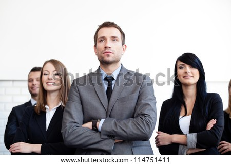 Team leader with Group of business people