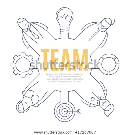 TEAM line art concept of business teamwork. Thin lined illustration. Design concept of team icon. Isolated  illustration of doodle stylized on white background. Business work drawn icon. - stock photo
