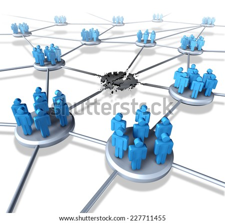 Team network problems as a connected business group of people icons with a broken link and system failure concept as loss of social media popularity by losing followers or communication crisis. - stock photo