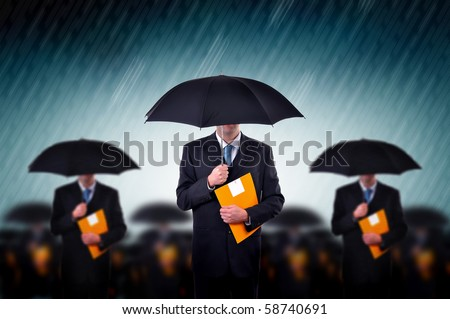 Team of business insurers. Businessmen with umbrella standing in stormy rain. Business teamwork, insurance agents and consultants in corporate crisis situation.