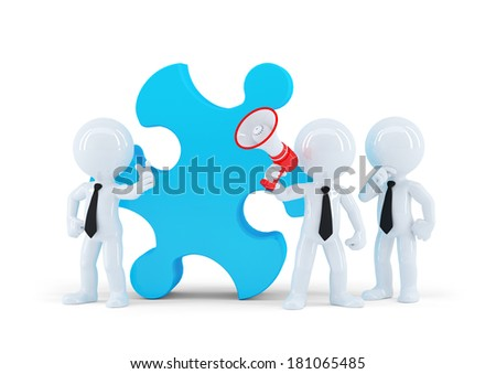 Team of business people and piece of a puzzle. Business concept. Isolated - stock photo