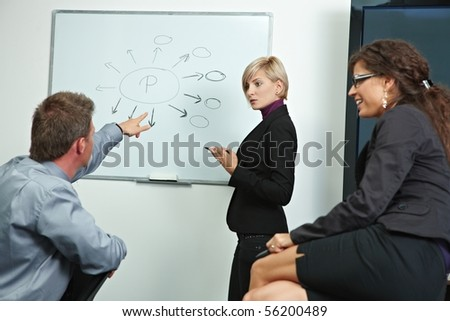 Team of business people brainstoming in office, talking, explaining. - stock photo