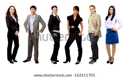 Team of business people group crowd full length stand isolated on white background. - stock photo