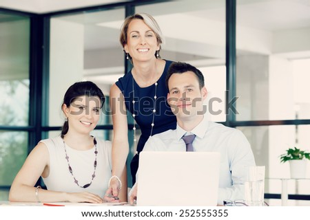 Team of business people working together - stock photo