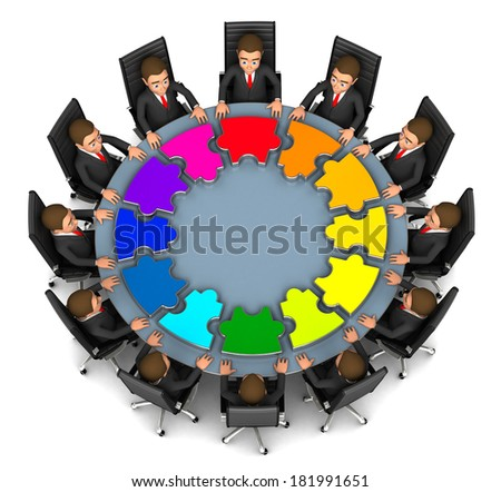 team of businessmen behind a round table  - stock photo