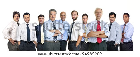 Team of businessmen isolated in white - stock photo