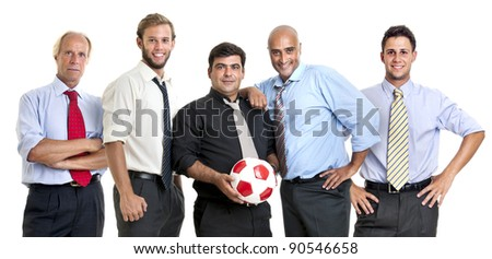 Team of businessmen with soccer ball - stock photo
