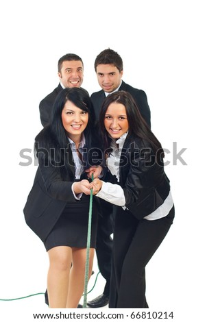 Team of businesswomen and team of businessmen pulling rope together isolatedon white background - stock photo