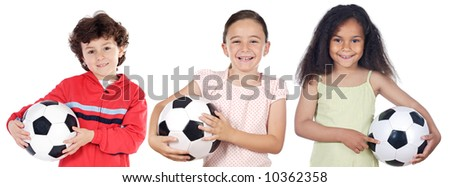 Team of children with soccer ball a over white background - stock photo