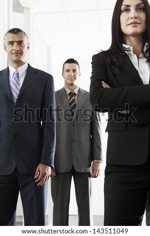 Team of confident business people standing in office