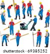 Team of Construction workers in blue workwear an yellow helmets. Other people in my portfolio. - stock vector