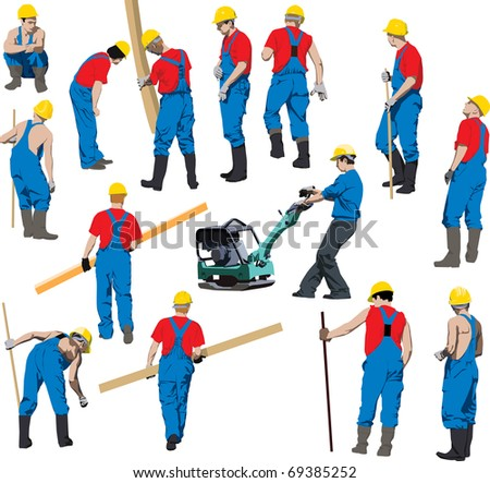 Team of Construction workers in blue workwear an yellow helmets. Other people in my portfolio. - stock photo