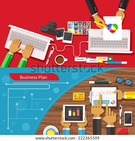 Team of designers working together on a computer. Creative team. Business plan with creative businessman showing positive growth in flat design style. Raster version - stock photo