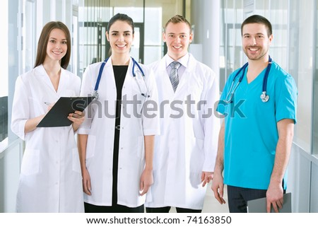 Team of doctors at a hospital - stock photo