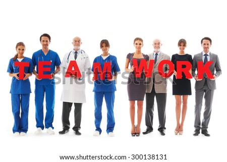 team of doctors isolated on white background - stock photo