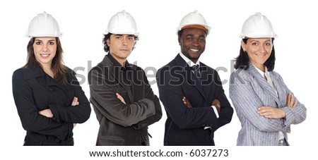 Team of engineers a over white background