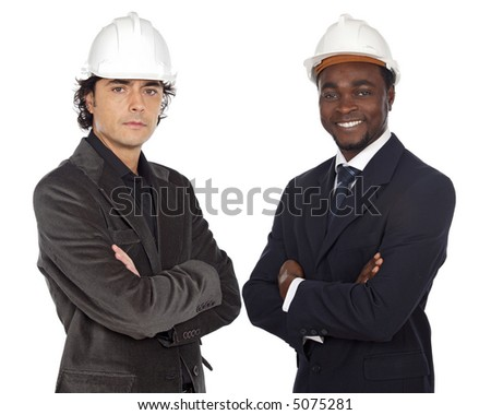Team of engineers black and caucasian a over white background