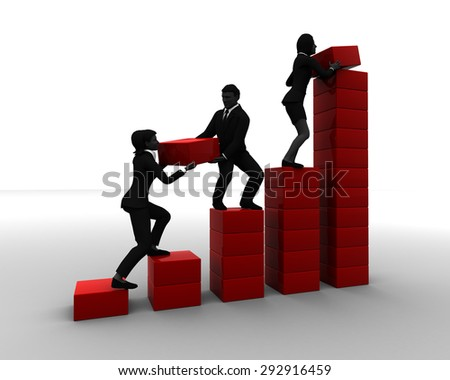 Team of executives working on a Bar Chart. A team of executives collaborating on a bar chart indicates progress. - stock photo
