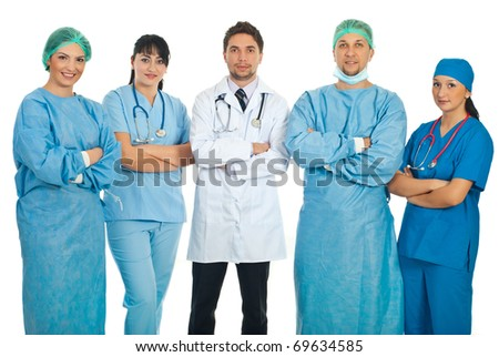 Team of five doctors standing with hands crossed isolated on white background - stock photo
