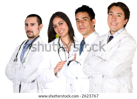 team of friendly and happy doctors and nurses over a white background