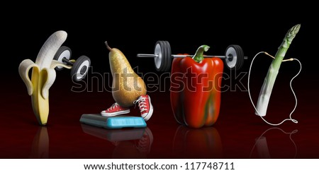 Team of fruits and vegetables making sports: a banana makes weightlifting , a pear make steap , a pepperone make weightlifting ,  an asparagusa make cord , on a black  and red background - stock photo