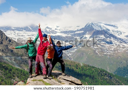 Team of hikers - stock photo