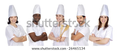 Team of kitchen on a over a white background - stock photo