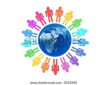 Team of people around Earth isolated