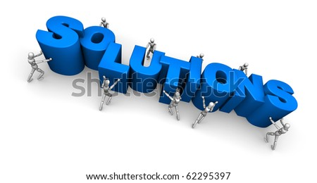 Team of People Making the Word Solutions - stock photo