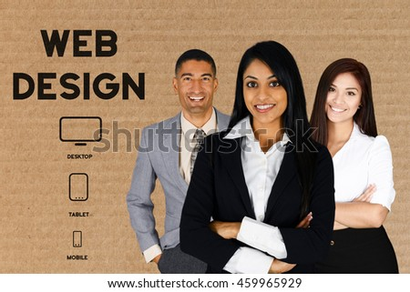 Team of people who are designing a website - stock photo