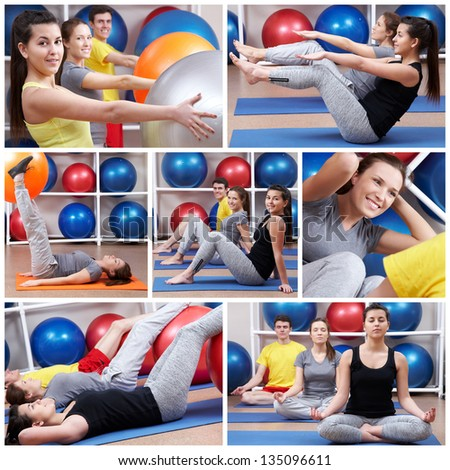 Team of people with trainer doing exercises - stock photo