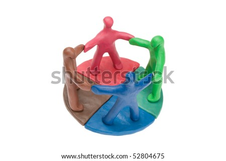 Team of plasticine people in a circle - stock photo
