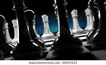 team of regular chess figures against unusual team of white queens - stock photo