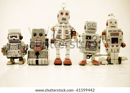 team of robots - stock photo