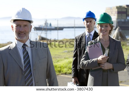 Team of shipping engineers - stock photo
