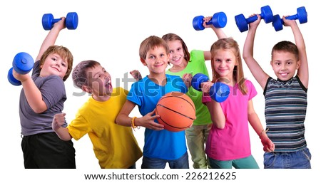 Team of sportive children friends with dumbbells and ball isolated over white . Childhood, happiness, active sports lifestyle concept - stock photo
